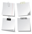 realistic lined sticky notes with clip binder vector image vector image