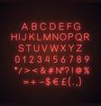 red alphabet neon light icon vector image