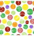 Seamless pattern with vegetables in colored vector image