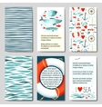 Set of 6 cards templates with sea background vector image vector image
