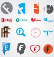 Set of alphabet symbols of letter F vector image vector image