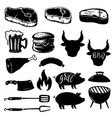 set of grill design elements steak grill burger vector image vector image