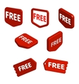 Set of red free tags buttons and icons for vector image vector image