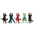 silhouettes of five couples wearing clothes in vector image vector image