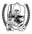 skull mafia handling gun hand drawingshirt vector image
