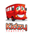 smiling red bus mascot character vector image