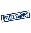 square grunge blue online survey stamp vector image vector image