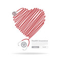 stethoscope heart design vector image