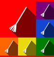 sweeping broom sign set of icons with vector image vector image