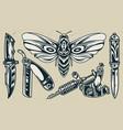 vintage flash tattoos monochrome set vector image vector image