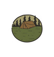 vintage hand drawn camping scene for logo or patch vector image vector image