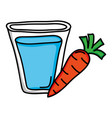 water glass with carrot vegetable vector image