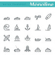 water transport icons vector image vector image