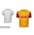 white mens t-shirt with sample mockup vector image