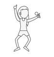 young woman happy in karaoke cartoon vector image vector image