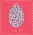card with egg from flowers of forget-me-nots vector image