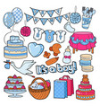 baby shower boy party doodle vector image