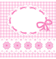 Baby girl card with stripes and flowers vector