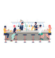bartender characters pouring beer making alcohol vector image vector image