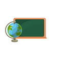 blackboard object with earth planet map desk vector image vector image
