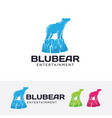 blue bear logo design vector image