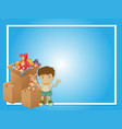 border template with boy and toys vector image vector image