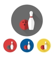 Bowling skittle and ball icons vector image vector image