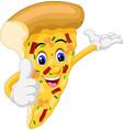 brown slice pizza wear gloves thumb up cartoon vector image vector image