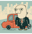 Businessman and car in big city vector image
