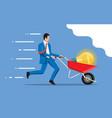 businessman pushing wheelbarrow with idea bulb vector image vector image