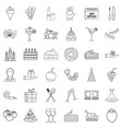 celebrating icons set outline style vector image vector image