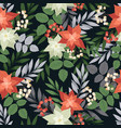Christmas seamless pattern with plants and flowers