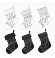 collection of Christmas stockings Stylized vector image