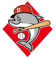 dolphin baseball mascot vector image vector image