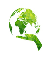 Ecology concept earth and hand geometric vector image