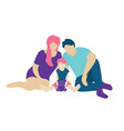 family with a small kid sitting on the floor vector image