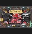 food truck menu and logo vector image