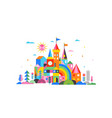 geometric fairy tale kingdom knight and princess vector image