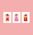 girls in traditional costumes asian countries vector image