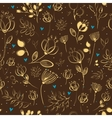 Graceful Golden Flowers Brown Seamless Pattern vector image vector image