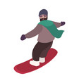 happy bearded snowboarder dressed in outerwear vector image vector image
