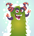 Happy cartoon green and fluffy horned monster vector image vector image