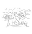 happy girl with dog in an autumn park trend vector image vector image