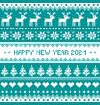 happy new year 2021 - scandinavian pattern vector image