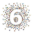 large group of people in number 6 six form vector image vector image