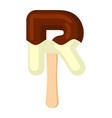 letter r ice cream font popsicle alphabet cold vector image vector image