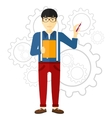 Man standing on gears background vector image vector image