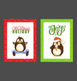 merry christmas penguin eating ice cream posters vector image vector image