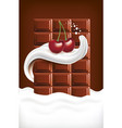 milk splash tongue with cherry and chocolate table vector image vector image