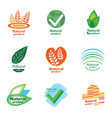natural product set logo vector image vector image